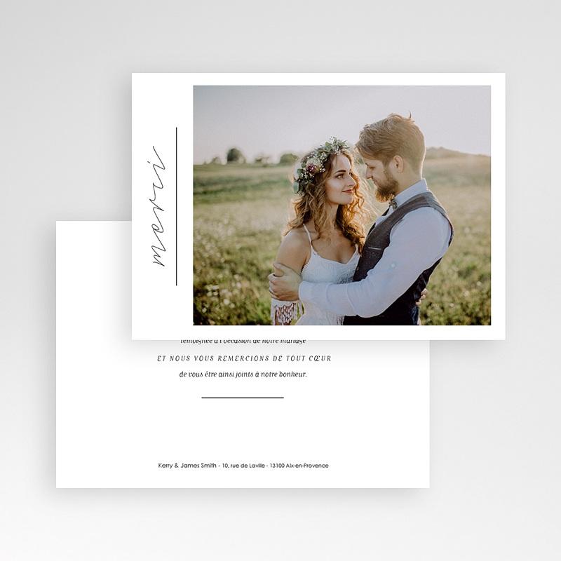 Carte remerciement mariage photo Minimaliste Gris & Blanc pas cher