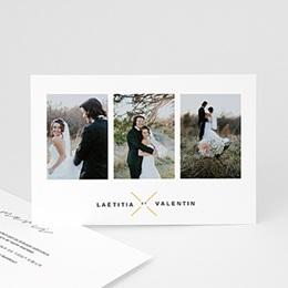 Carte remerciement mariage photo Minimaliste Gris & Or