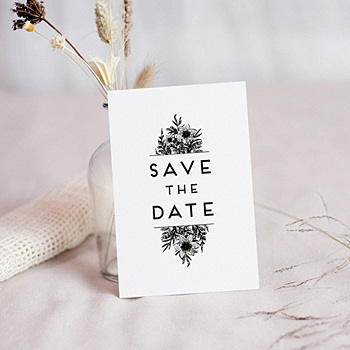 Save the date mariage Black Flowers Pastel à personnaliser