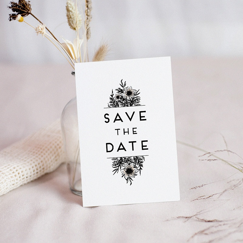 Save The Date Mariage Black Flowers Pastel