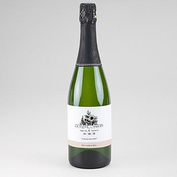 Etiquette bouteille champagne black flowers pastel sur mesure