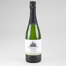 Etiquette bouteille champagne Black Flowers Pastel