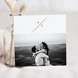 Carte remerciement mariage photo Feuillages Vintage