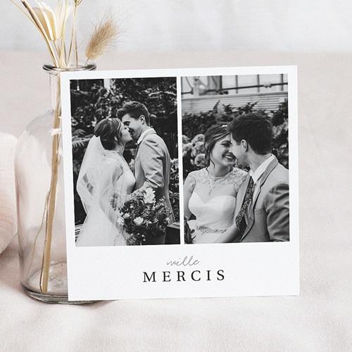 Carte remerciement mariage photo Carré Typographique