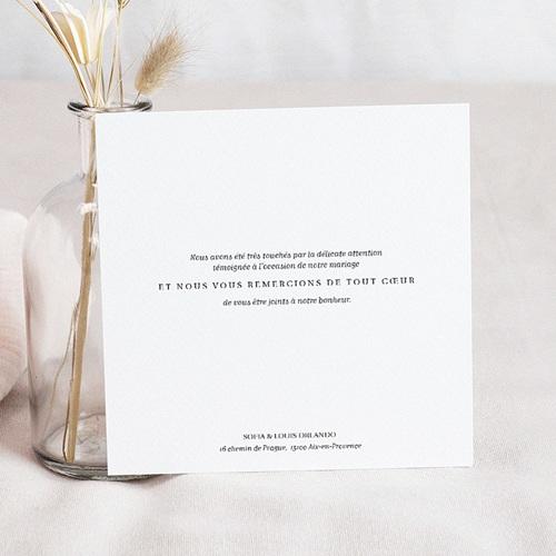 Carte remerciement mariage photo Carré Typographique pas cher