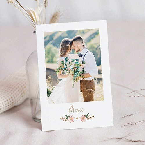 Carte remerciement mariage chic Douceur des fleurs