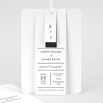 Faire Part Mariage chic - Minimaliste Gris & Blanc - 4