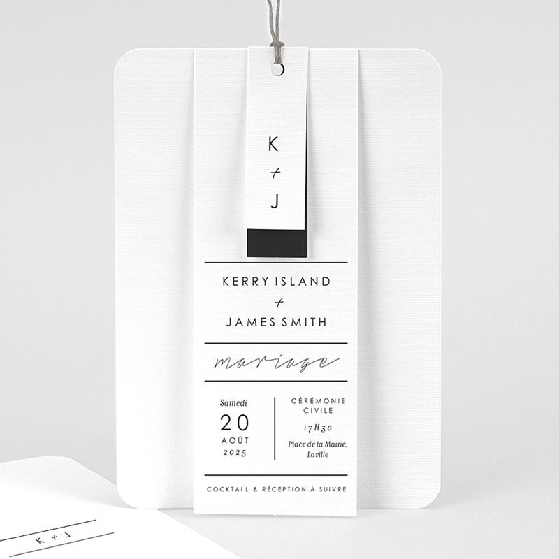 Faire-Part Mariage Minimaliste Gris & Blanc