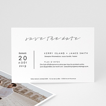 Save-The-Date - Minimaliste Gris & Blanc - 0