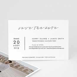 Save the date mariage Minimaliste Gris & Blanc