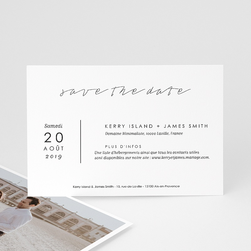 Save The Date Mariage Minimaliste Gris & Blanc