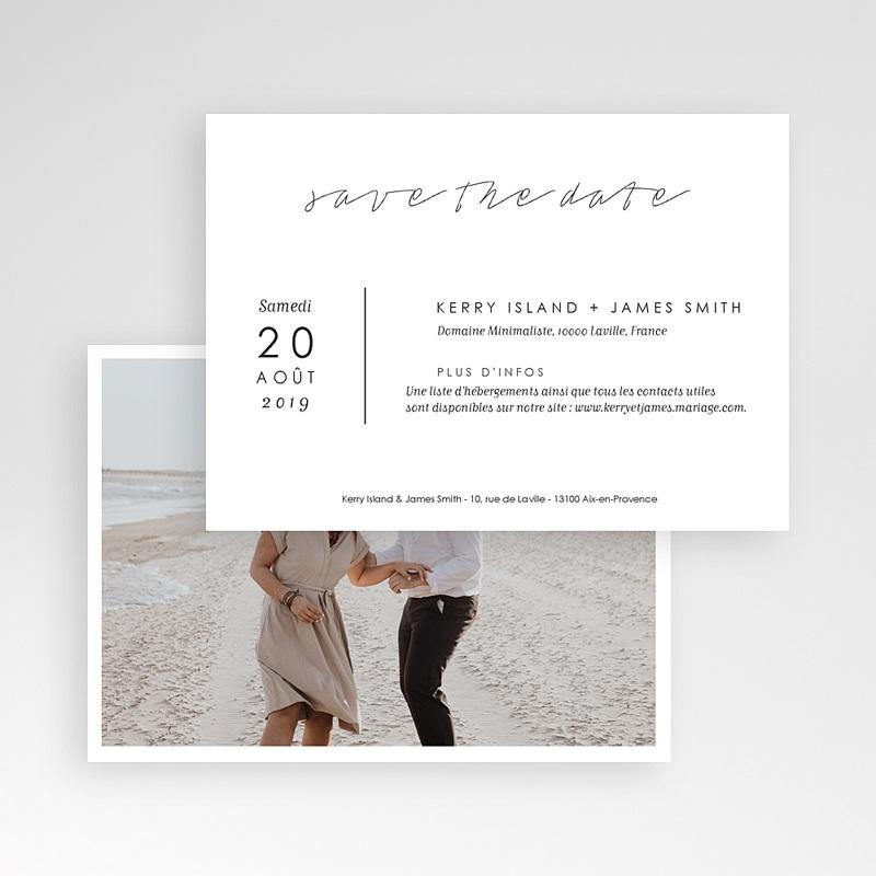 Save The Date Mariage Minimaliste Gris & Blanc pas cher