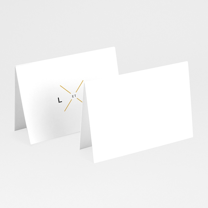 Marque place mariage Minimaliste Gris & Or