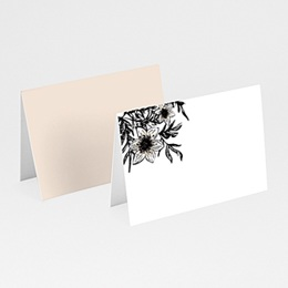 Marque place mariage Black Flowers Pastel
