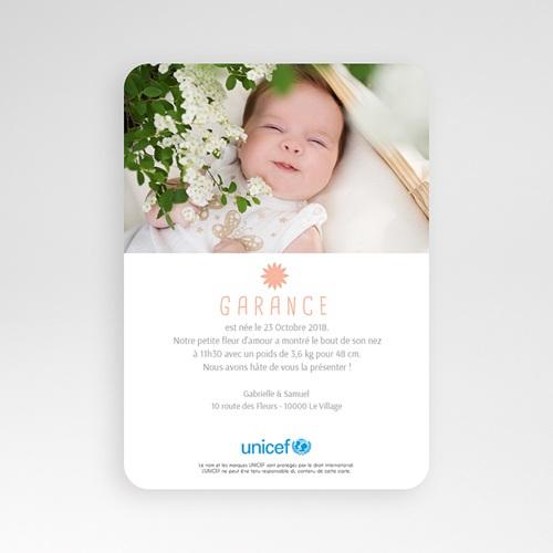 Faire-Part Naissance Fille UNICEF Petites Fleurs pas cher
