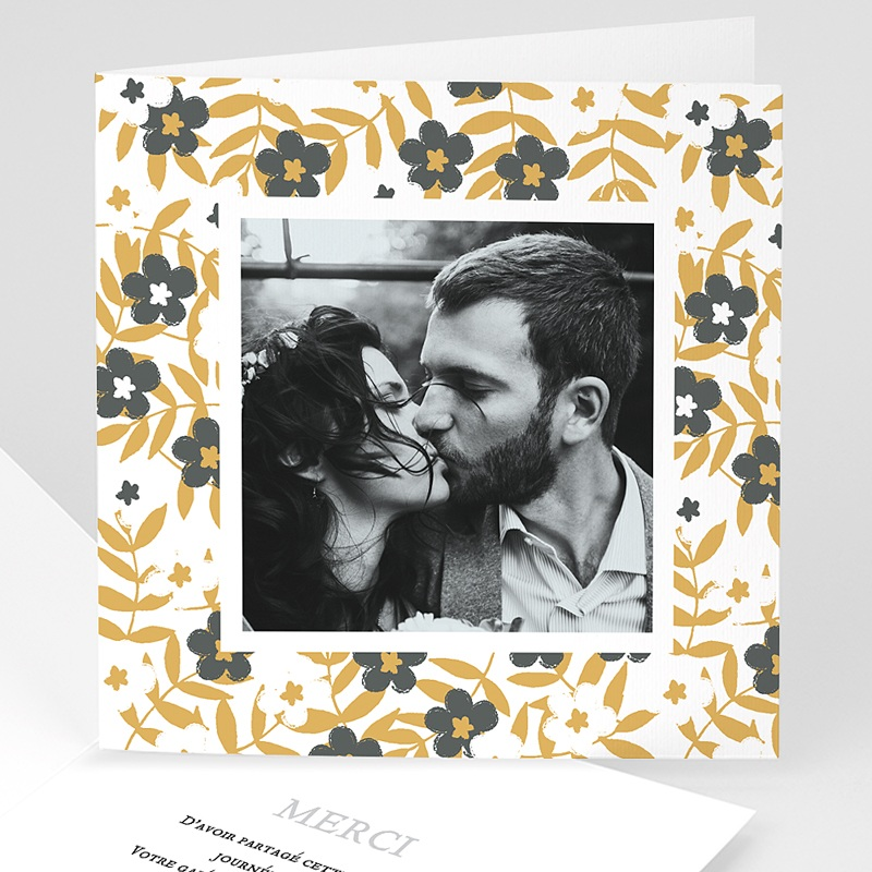 Carte Remerciement Mariage Photo Anémones
