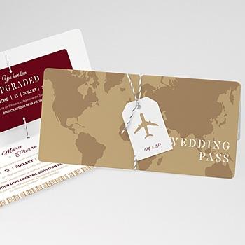 Faire-part mariage billet avion personnalisable