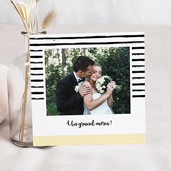Carte remerciement mariage créatif Rayures & Jaune