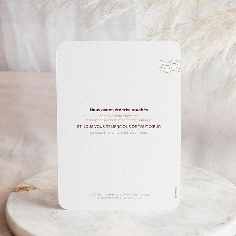 Carte Remerciement Mariage Photo Wedding Pass pas cher