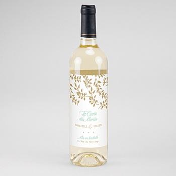 Étiquette bouteille mariage - Feuillage Doré - 0