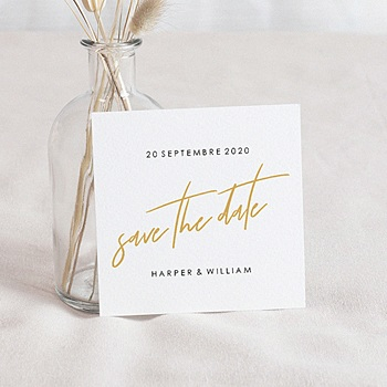 Achat save the date mariage or et bordeaux