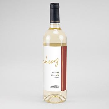 Étiquette bouteille mariage - Or & Bordeaux - 0