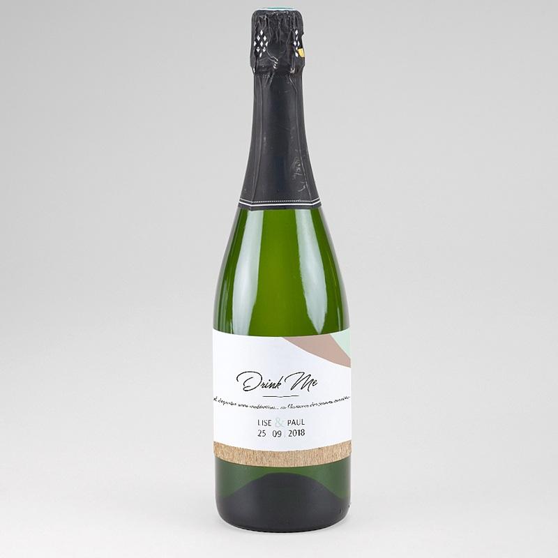 Etiquette bouteille mariage Bois & Pastel