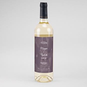 Etiquette bouteille mariage boho lie de vin à personnaliser