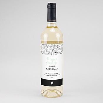 Création etiquette bouteille mariage points noirs et blancs