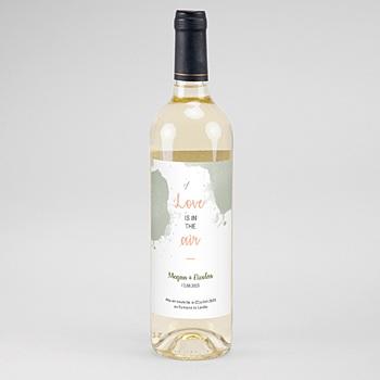 Etiquette bouteille mariage boho olive à personnaliser