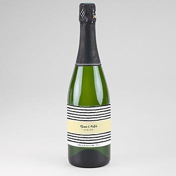 Étiquette bouteille mariage - Rayures & Jaune - 0