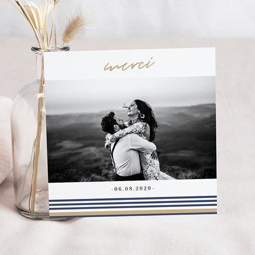 Carte remerciement mariage voyage Marinière or bleu
