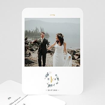 Carte remerciement mariage classique Bleu botanique