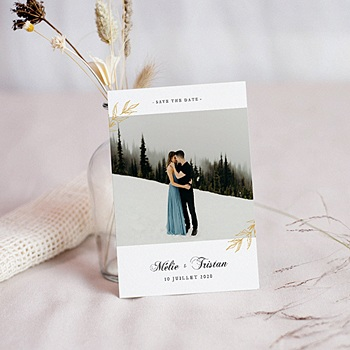 Carte remerciement mariage chic Végétal minimal
