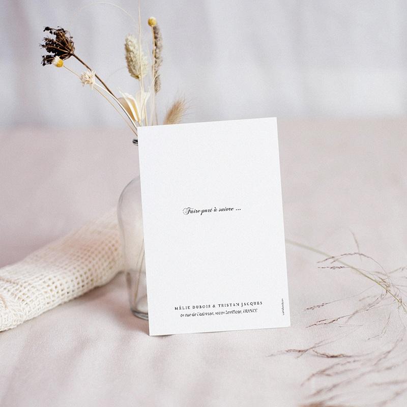 Carte Remerciement Mariage Chic Végétal minimal pas cher