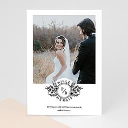 Carte remerciement mariage photo Black Flowers Pastel
