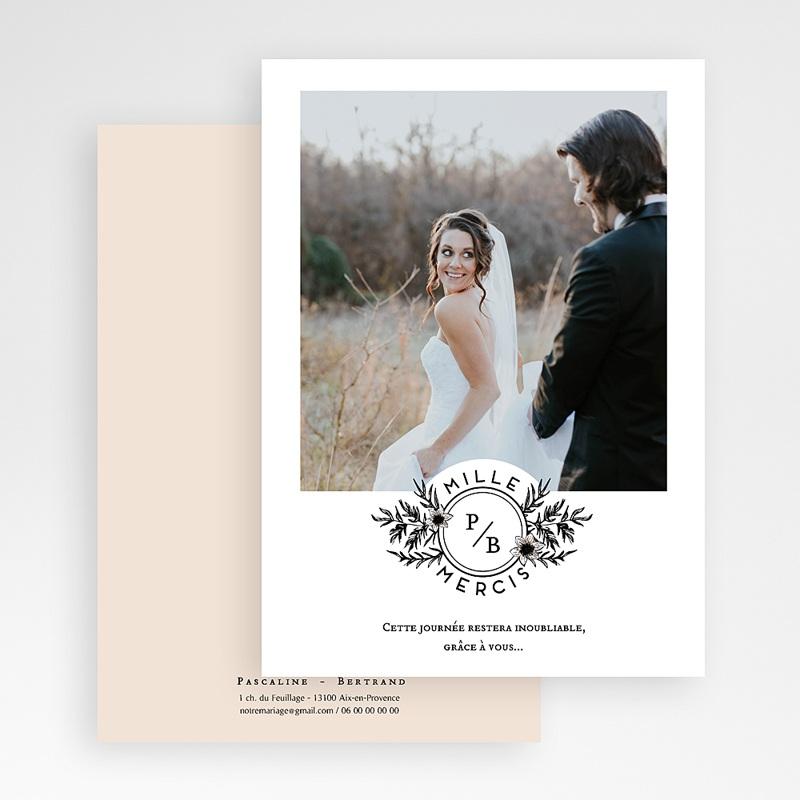 Carte Remerciement Mariage Photo Black Flowers Pastel gratuit