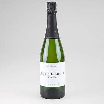 Etiquette bouteille mariage Carré Typographique