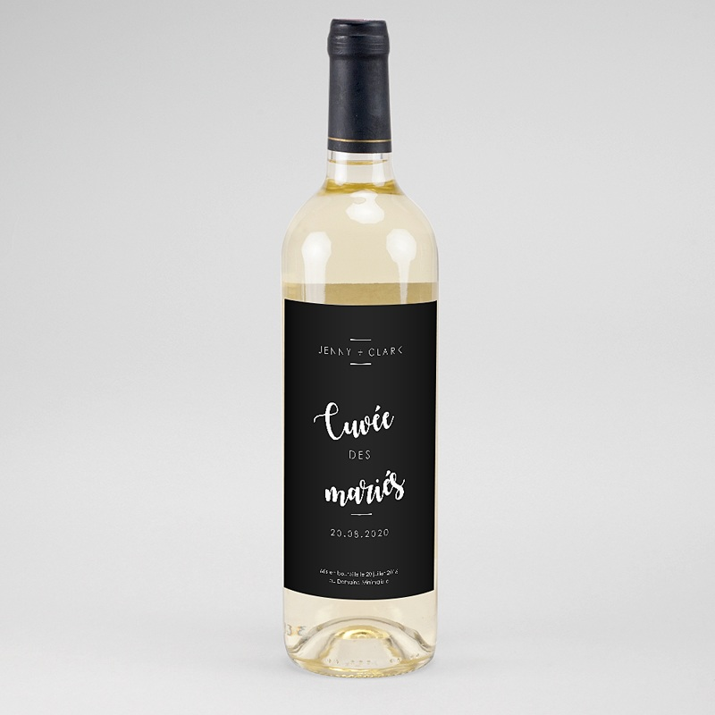 Etiquette Bouteille Mariage Vin Minimaliste Chic