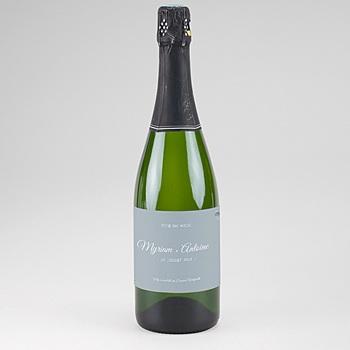 Acheter etiquette bouteille champagne bleu botanique