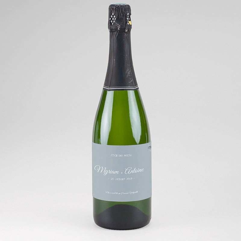 Etiquette Bouteille Champagne Bleu botanique