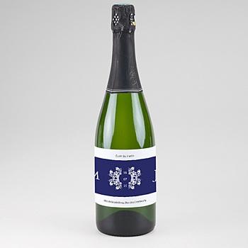 Etiquette bouteille mariage bleu ottoman pas cher