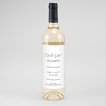 Étiquette bouteille mariage - Minimaliste Gris & Blanc - 0