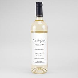 Étiquette bouteille mariage Vin Minimaliste Gris & Blanc
