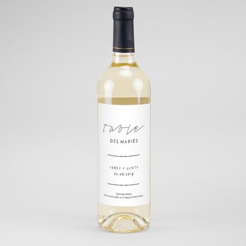Etiquette Bouteille Mariage Vin Minimaliste Gris & Blanc
