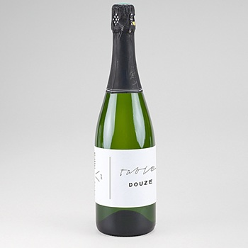 Etiquette bouteille mariage Minimaliste Gris et Or