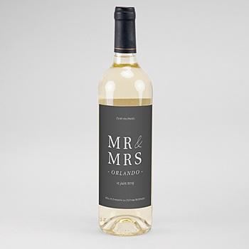 Achat etiquette bouteille mariage carré typographique