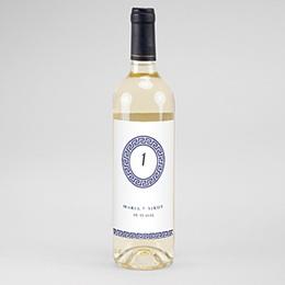Etiquette bouteille mariage Bleu Grec