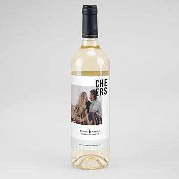 Etiquette bouteille mariage Photo et Typo personnalisable