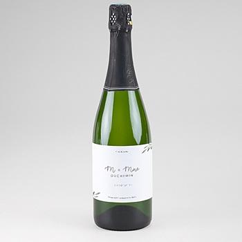 Etiquette bouteille mariage Rameaux Aquarelle personnalisable